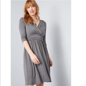 ModCloth Keep it Simple Gray Jersey Knit Dress